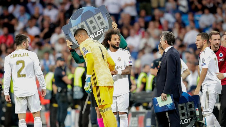 Marcelo and Alphonse Areola replace the injured Nacho and Thibaut Courtois at half-time