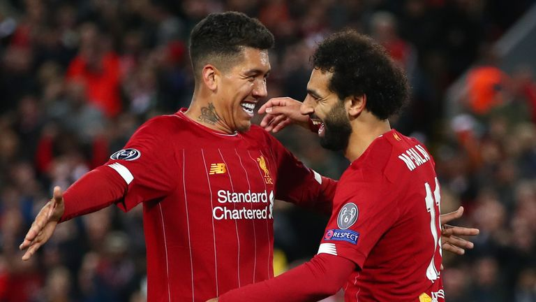 Roberto Firmino and Mohamed Salah celebrate during the Salzburg win