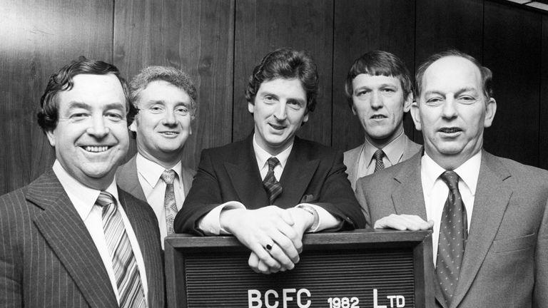 Hodgson (centre) with Bristol City in 1982, where he was caretaker in his second managerial job
