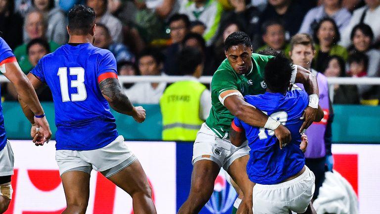 Aki was sent off for this tackle on Samoa fly-half UJ Seuteni