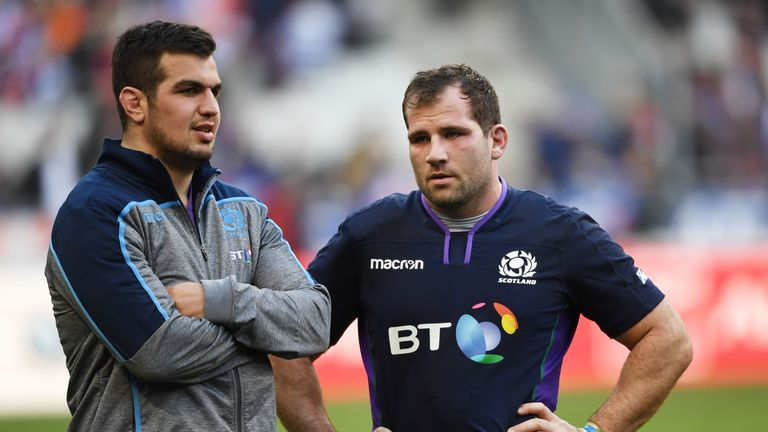 Fraser Brown (right) is preferred to Stuart McInally (left) at hooker