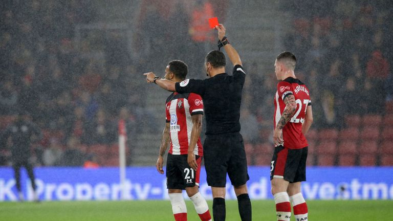 Ryan Bertrand was sent off after a VAR review in Southampton's game against Leicester in October