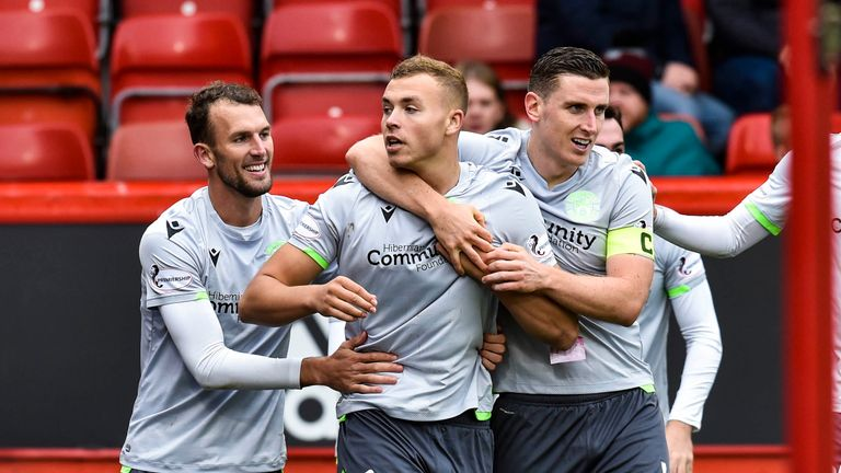 Hibernian's Ryan Porteous celebrates the opener at Pittodrie
