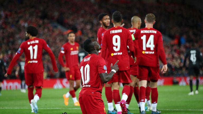 Sadio Mane celebrates scoring the first goal of the night after nine minutes