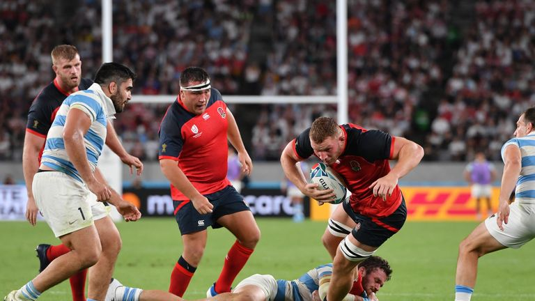 England's Sam Underhill in action during the 2019 Rugby World Cup Pool C match against Argentina
