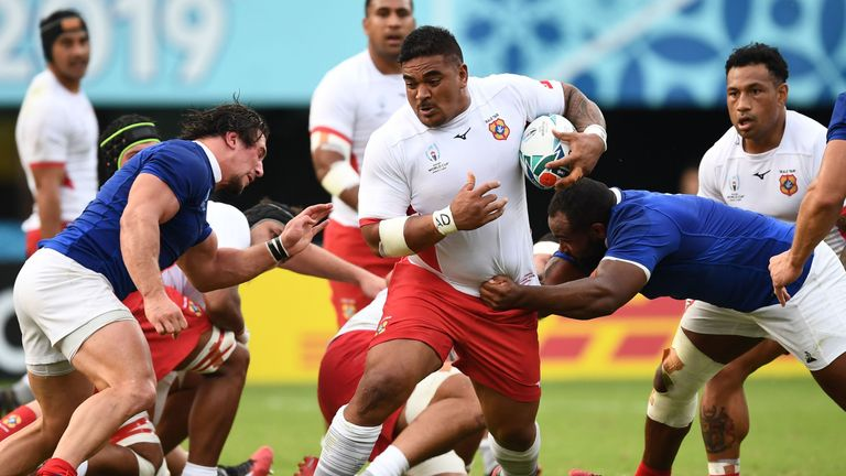 Siegfried Fisi'ihoi carries strongly for Tonga