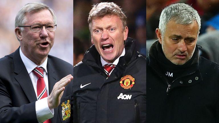 David Moyes (centre) and Jose Mourinho (right) struggled to continue United's success