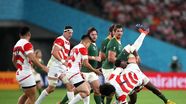 Tendai Mtawarira was sin-binned for this tackle on Keita Inagaki