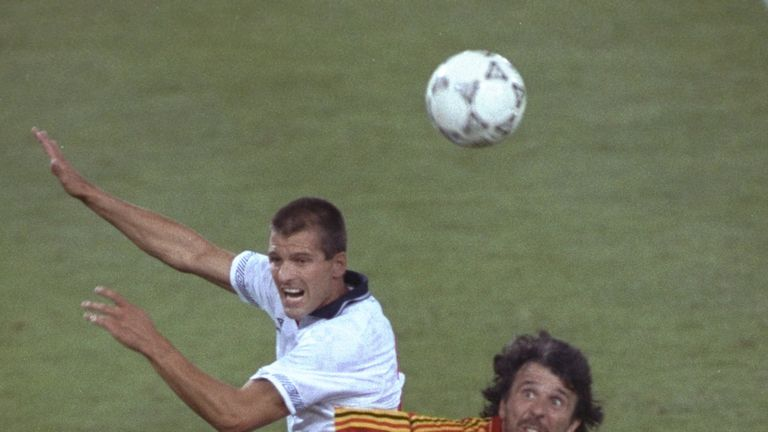 Bull in action for England against Belgium at Italia '90 World Cup