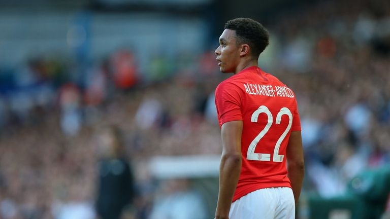 Alexander-Arnold on his England debut against Costa Rica in June last year