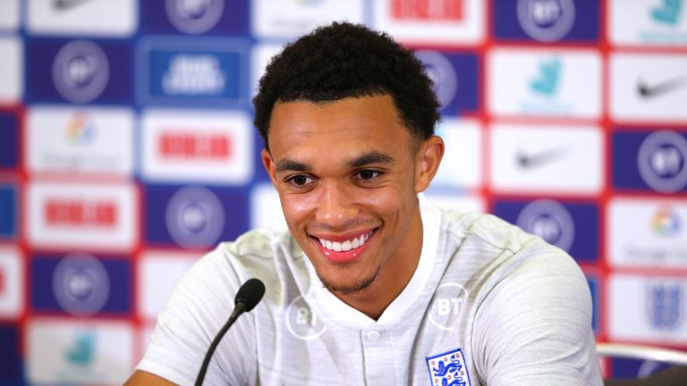 Alexander-Arnold addresses the media ahead of England's Euro 2020 Qualifier against Czech Republic