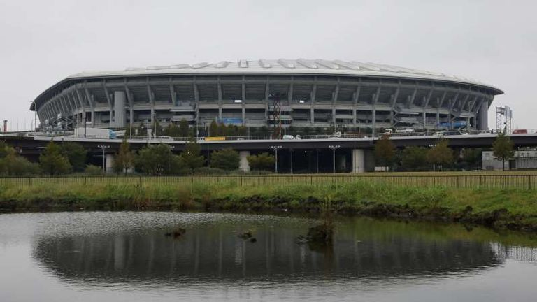 The stadium is elevated several feet above river-level as part of a flood basin system