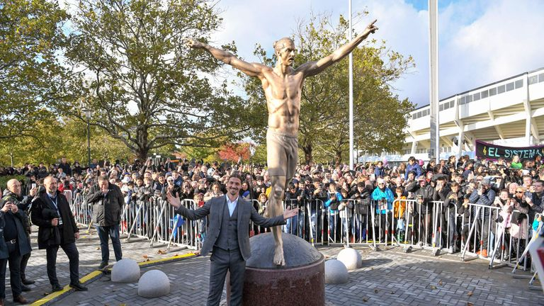 MLS star Zlatan Ibrahimovic honored with shirtless statue in Sweden