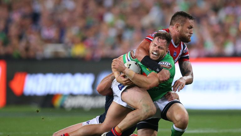 Sezer is tackled during the NRL Grand Final between Canberra Raiders and Sydney Roosters in Sydney last month