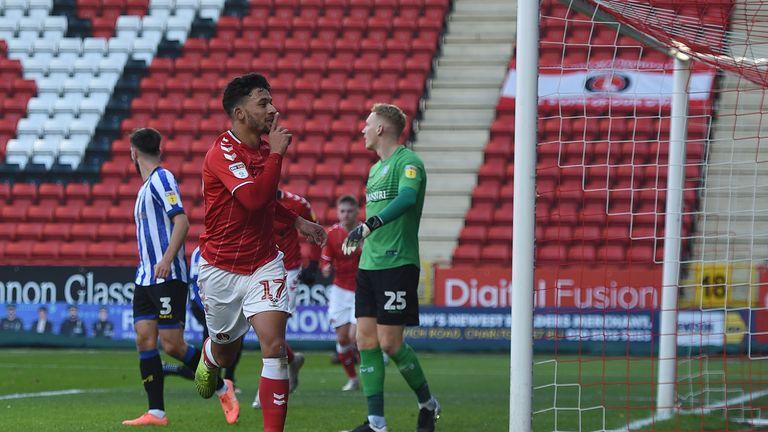 Macauley Bonne celebrates scoring for Charlton
