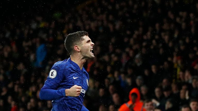 Christian Pulisic celebrates after extending Chelsea's lead