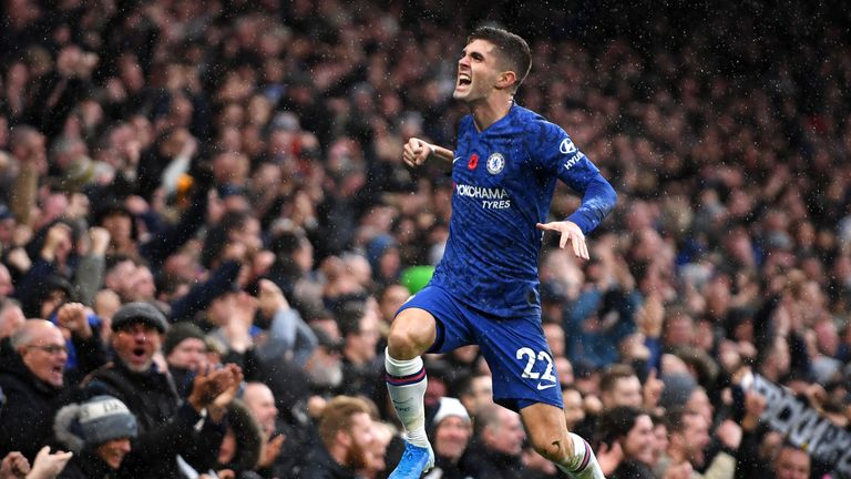 Christian Pulisic celebrates his goal against Crystal Palace at Stamford Bridge