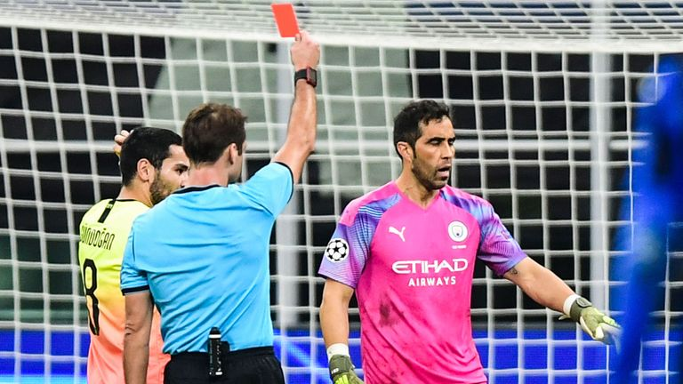 Half-time substitute Claudio Bravo was sent off for a tackle outside the box on Josip Ilicic