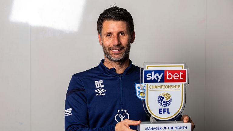 Danny Cowley takes the Championship Manager of the Month award after Huddersfield won three and drew two of their five October games