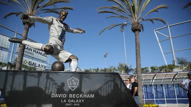 Beckham had a statue of himself revealed outside Galaxy's stadium in March