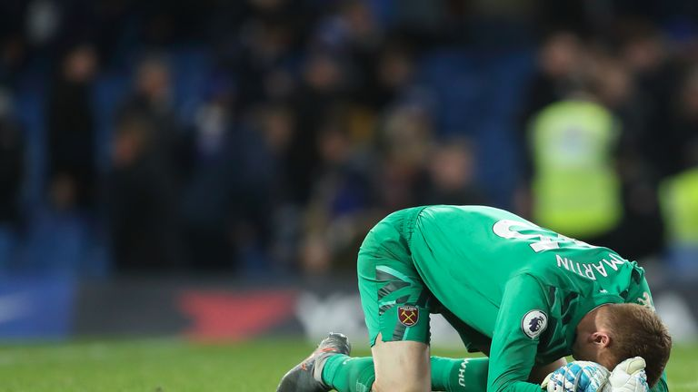 An emotional David Martin celebrates victory on his Premier League debut