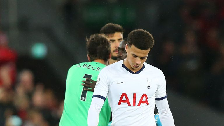 Dele Alli during Spurs' 2-1 defeat to Liverpool at Anfield in October