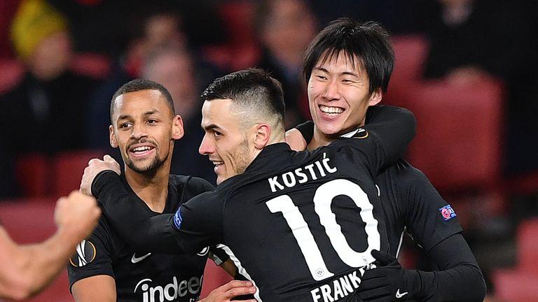 Eintracht Frankfurt celebrate during their fight back