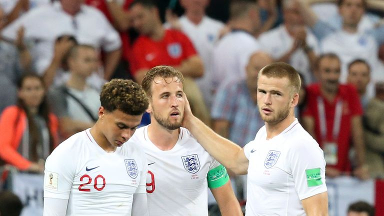 England's players look dejected after World Cup semi-final defeat against Croatia in 2018