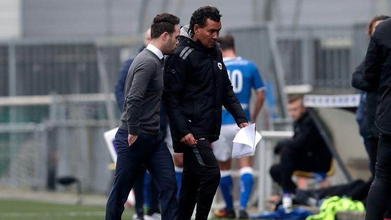 Erik van der Ven of FC Den Bosch and Ricardo Moniz of Excelsior