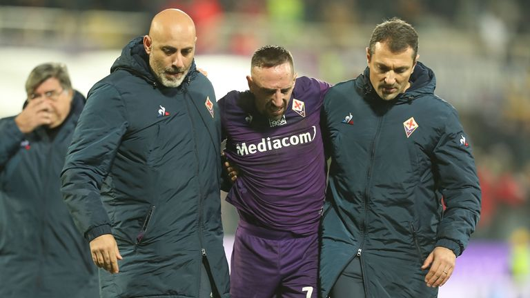 Franck Ribery was injured in Fiorentina's 1-0 defeat on Saturday