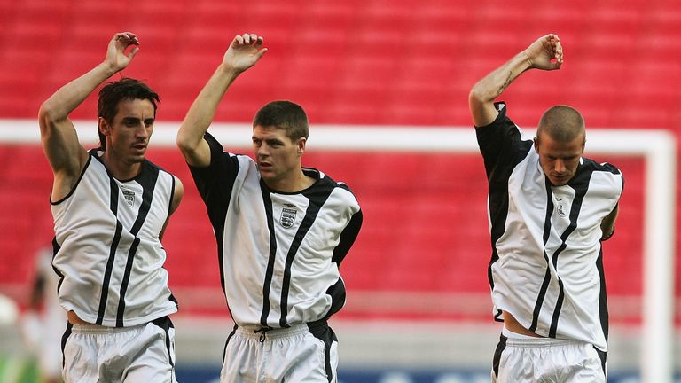 Gary Neville, Steven Gerrard, and David Beckham in England training in 2004