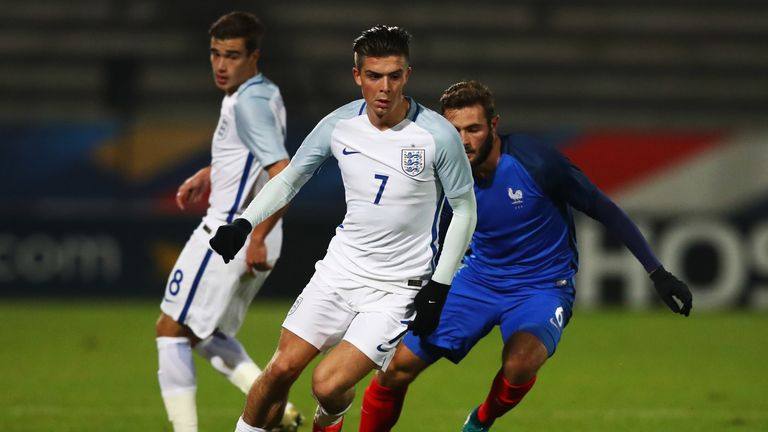 Grealish playing for the England Under-21s in 2016