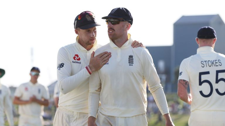 Leach (right) was left out of the second Test as England opted for an all-pace attack