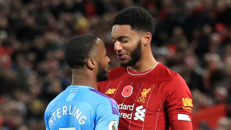 Raheem Sterling and Joe Gomez square up to each other at Anfield