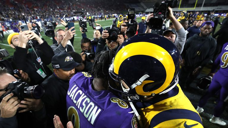 LA Rams quarterback Jared Goff embraces Lamar Jackson after his five-touchdown performance in Monday Night Football