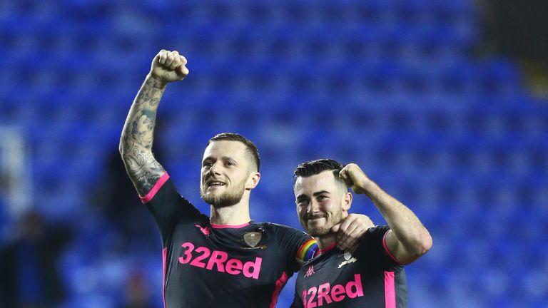 Liam Cooper and Harrison celebrate Leeds' win