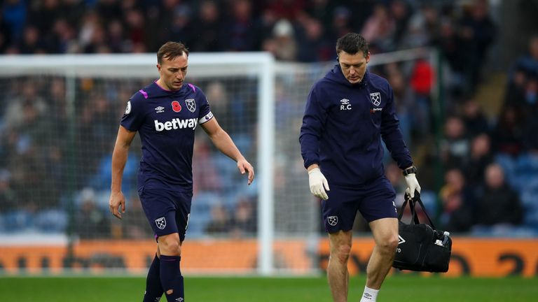 West Ham captain Mark Noble was also forced off through injury
