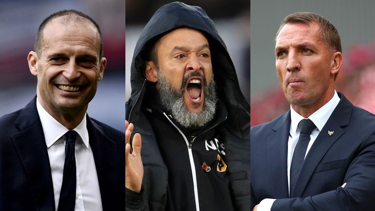 Max Allegri, Nuno Espirito Santo and Brendan Rodgers are all on Arsenal's shortlist