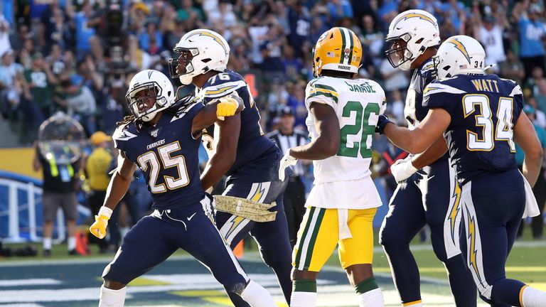 Melvin Gordon had his best game of the season against Green Bay with 80 yards and two touchdowns on the ground