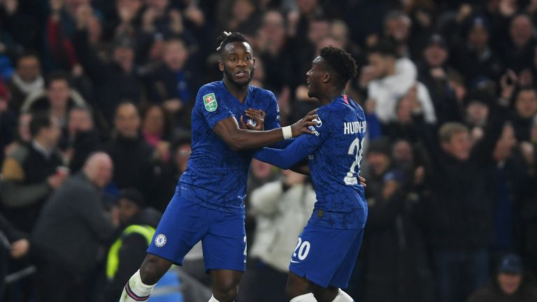 Michy Batshuayi (L) scored in the second half during Chelsea's 2-1 Carabao Cup defeat to Manchester United on Wednesday