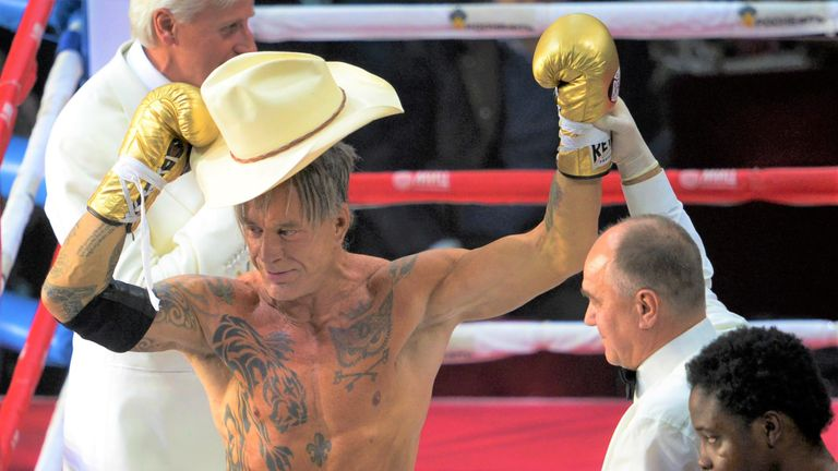 Mickey Rourke put his acting career on hold for a handful of fights