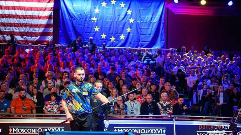 Team Europe focus on the table on day two (Credit: JP Parmentier/Matchroom Multi Sport')