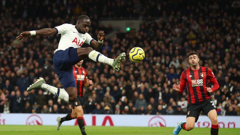 Moussa Sissoko scores Tottenham's third goal against Bournemouth