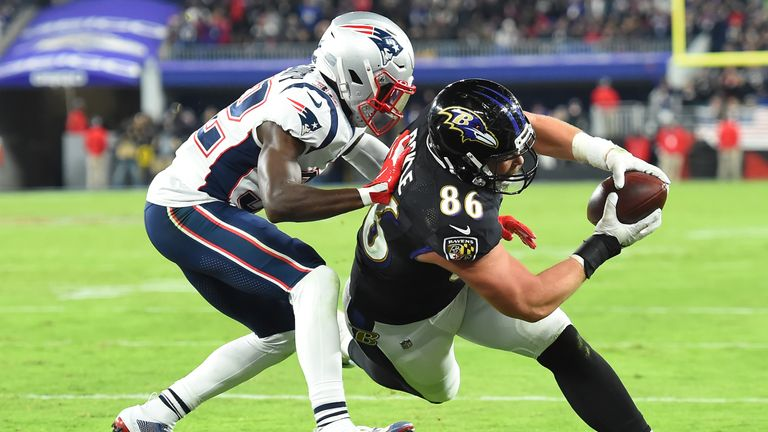 The Ravens eventually pulled away from the Patriots to record a fourth successive victory