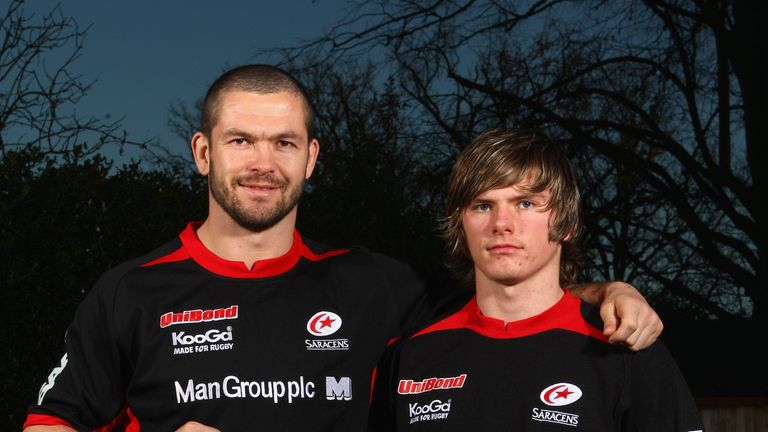 Andy Farrell  and Owen pose back in 2008 after Andy had signed a new two-year contract, while his 16-year-old  Owen had joined the Saracens Academy