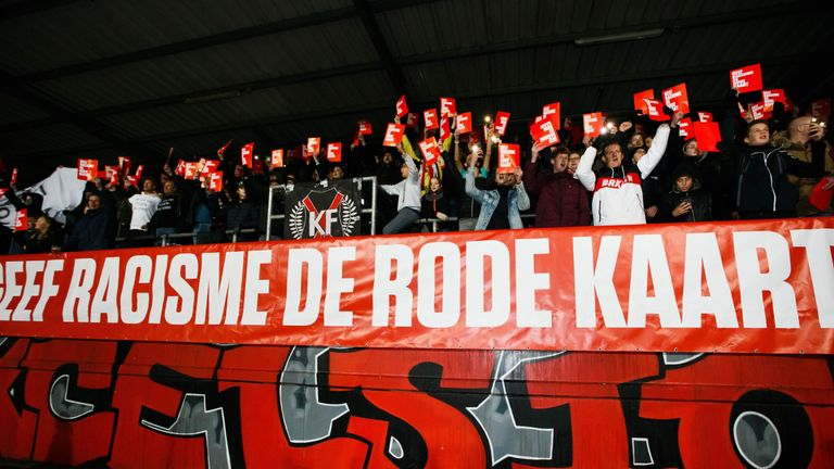 Excelsior fans also protested against racism with the banner reading 'give racism the red card'
