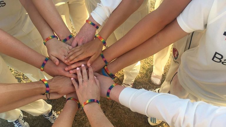 Rainbow laces were turned into wristbands by Blythin's Kent team-mates in August in a show of solidarity