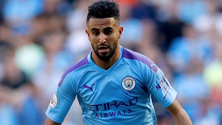 Former Arsenal target Riyad Mahrez in action for Manchester City this season