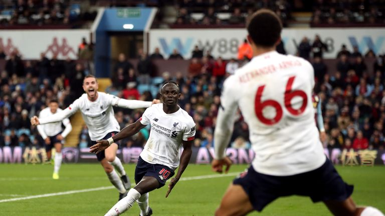 Sadio Mane celebrates after scoring Liverpool's winner