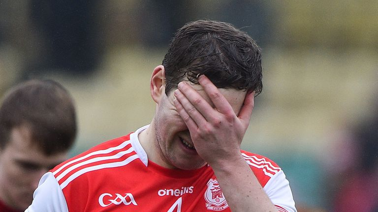 ...And the agony of defeat! Simon Timlin of Cuala after the Dalkey side were knocked out of the Leinster Championship